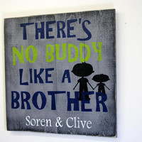 Theres No Buddy Like A Brother Wood Sign Pallet Wood Sign Custom Boys Room Sign Boys Gray Room Decor Rustic Chic Decor Lime Green Boys Room