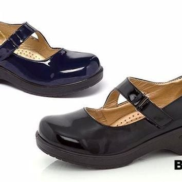 Patent Mary Jane Clogs with Adjustable Strap