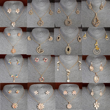 Austrian Crystal Gold Jewerly Sets For Women Cat's Eye Stones Jewelry Set Of african Statement necklace earrings jewellery set