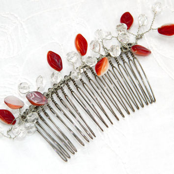 Wedding Hair Comb-Beach wedding-Head Piece-Bridesmaid Hairpiece-Hair Accessory-Glass bridal barette-glass leaves cascades-hair accessories