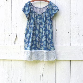 Women's Babydoll Tunic Top , Blue Paisley Large XL Upcycled shirt , empire waist eco friendly clothes , recycled refashioned by wearlovenow