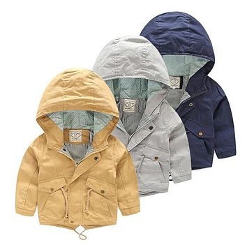 For 2-8 Yrs Baby Boy Coat Jacket Boy Hooded Windbreaker Outerwear & Coats Autumn Cotton Fashion Casual for Kids Children Cloth