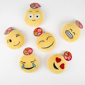 Squeaker Plush Emoticon Dog Toy - 72 Units
