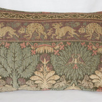 """Medieval Scenic Tapestry Chenille Pillow in a 14 x 20"""" Rectangle with Dogs Birds & Trees in Beige Green Coral Peach Brown, Ready to Ship"""