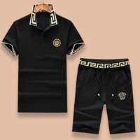 VERSACE Fashion Men Casual Embroidery Shirt Top Tee Shorts Set Two-Piece Black