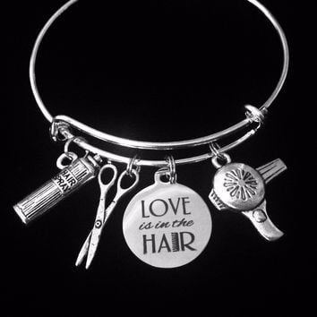 Love is In the Hair Stylist Jewelry Silver Expandable Charm Bracelet Adjustable Bangle One Size Fits All Gift Beauty Scissors Hair Spray Hair Dryer