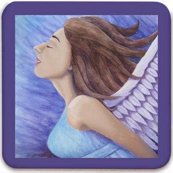 Air Goddess Flying - Coasters (Set of 4) of Angel Acrylic Paint and Watercolor Pencil Fine Art