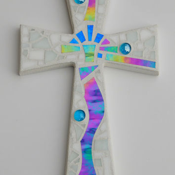 """Mosaic Wall Cross, Abstract Modern Art, White with Iridescent Stained Glass, Handmade Mosaic Design, 12"""" x  8"""""""