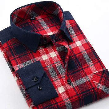 New Autumn Men Flannel Casual Plaid Shirts Long Sleeve Fashion Brand Regular Fit Social Clothing Mens Dress Shirts XXL