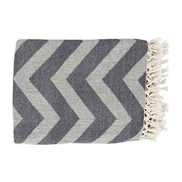 Ben and Jonah Zigzag Throw Blanket with Fringe (Cream /Charcoal)