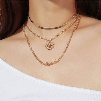 Cross in Love Heart Pendant Necklaces for Girls Three Layers Snake Alloy Chain Women Neck Accessories NT045