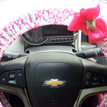 Steering Wheel Covers Pink and White Damask with Your choice of Bow