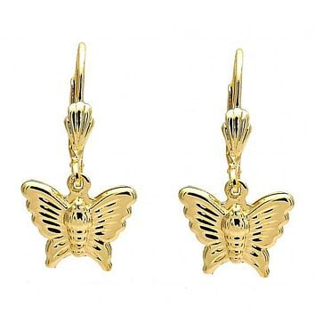 Gold Layered Dangle Earring, Butterfly Design, Gold Tone