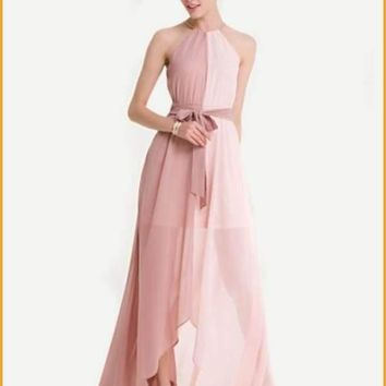 Extended Sizes Two Tone Dip Hem Chiffon Dress
