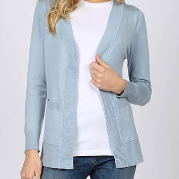 Ribbed trim pocket cardigan - Light Blue