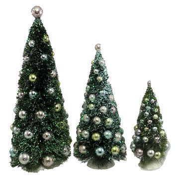 Dept 56 Snowbabies SISAL TREE WITH ORNAMENTS SET/3 Sisal/ Glass Set/ 4019980
