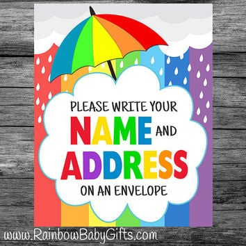 PRINTABLE Rainbow Baby Shower Please Write Your Name And Address On An Envelope Sign | INSTANT DOWNLOAD