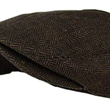 SuperR Men's Herringbone Tweed Wool Blend Snap Front Newsboy Hat