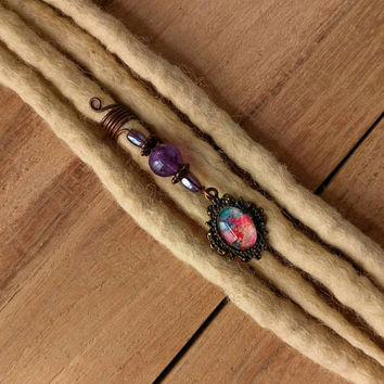 Victorian jewelry, copper wire dread bead with purple amethyst bead, wicca hair jewelry, pagan dreadlock beads