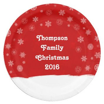 Snowflakes Holiday Design with a Red Background Paper Plate