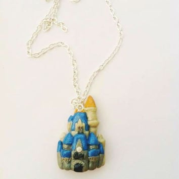 Cinderella Castle Polymer Clay Necklace Walt Disney World Magic Kingdom