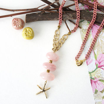 Stacking Pink Rose Quartz Tumbled Stones with Gold Starfish Charm, Sweet Shore Beach Inspired Jewelry