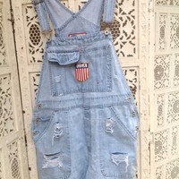 Patriotic Bib Overalls Shortalls USA Flag Emblem Destroyed Size Large Faded Dungarees //SuzNews Etsy//