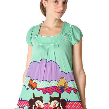 Yumi Green Squirrels Tunic Dress K1191