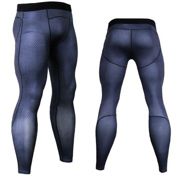 3D Long Pants Compression Tights Men Joggers Fitness Skinny Leggings Quick Dry Pants Gyms Slim Fit Black Trousers