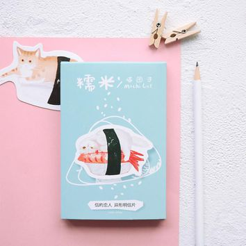 30 pcs/lot Japanese style Novelty Heteromorphism Sushi cat postcard greeting card christmas card birthday card gift cards