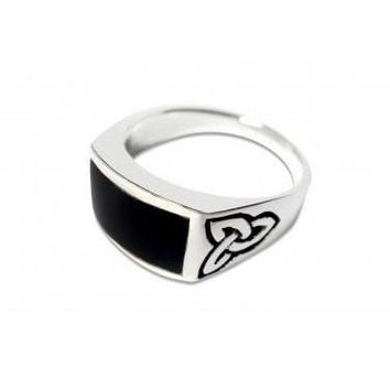 925 Sterling Silver Men's Celtic Knot Rectangular Black Genuine Onyx Ring