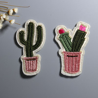 NEW 1PC beautiful plant Cactus flower Iron On Embroidered Patch For Cloth Cartoon Badge patch Garment Appliques DIY Accessory