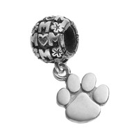 Dayna U Sterling Silver Clemson Tigers Team Logo ''Mom'' Charm (Grey)