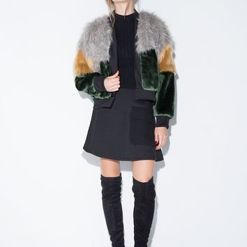 TDS Faux Fur Bomber Jacket