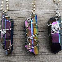 Aura Quartz Wire-Wrapped Pendant Necklace