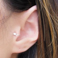 Unisex Summer Style Gold/Silver Plated Cubic Zirconia Tragus Ear Cuff