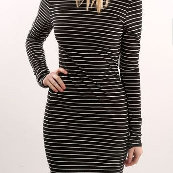 Black Striped Short Dress with Sleeves