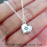 Same-sex Marriage support necklace - Equal Love Heart necklace. 925 Sterling silver necklace, Pride Lesbian  and Gay jewelry.