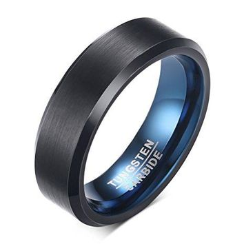 6mm Black Tungsten Carbide Ring Bluen Inner Wedding Engagement Band Matte Finish