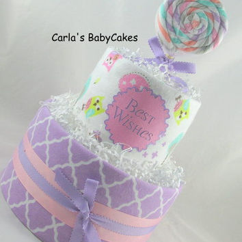 Girl diaper cake | Unique baby gift | Baby shower decoration | Baby shower gift | Receiving blanket lollipop | Baby sprinkle gift | New mom