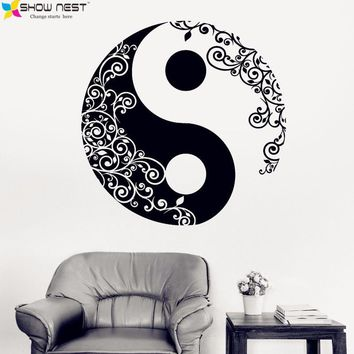 2016 New Arrival Products Religion Vinyl Wall Decal Buddha Yin Yang Floral Yoga Meditation Wall Stickers Home Decoration Fashion