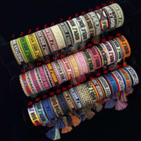 Dior Colour-matched braided handrope embroidery letters double-rope bracelet for men and women