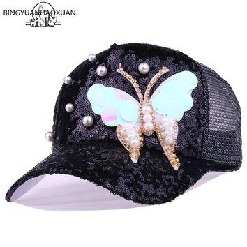 Trendy Winter Jacket BINGYUANHAOXUAN Summer Mesh Baseball Cap with Sequins Butterfly Rhinestones Women Snapback Caps Women 5 Panel Sun Casual Hat AT_92_12