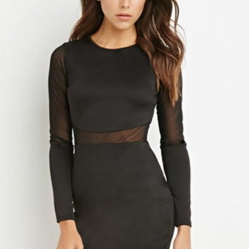 Mesh-Paneled Bodycon Dress