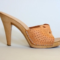 80s QUALICRAFT Platform Mules | Vintage 1980s Heels with Perforated SUEDE Vamp | size 7 7.5 37.5