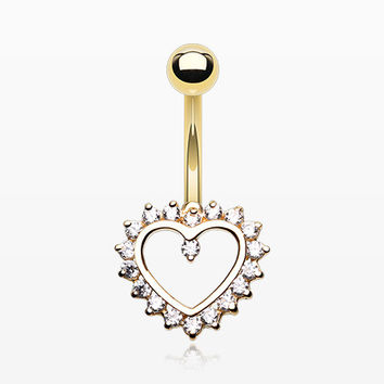 14 Karat Gold Sparkle Rays Heart Belly Button Ring