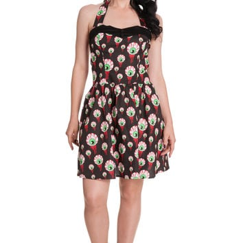 Hell Bunny Spooky Night Goth Emo Eyeball Perry Dress