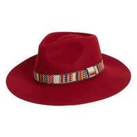 Women's Sole Society Wide Brim Wool Fedora - Burgundy
