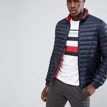Tommy Hilfiger Packable Down Bomber Puffer Jacket in Navy at asos.com