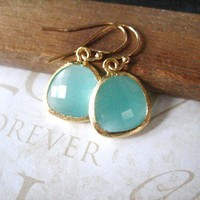 ANNA milky turquoise rough cut glass crystal earrings by brideblu
